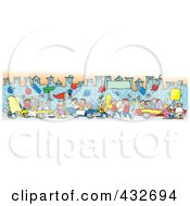 Royalty Free RF Clipart Illustration Of A Downtown Parade Of People Balloons And Cars