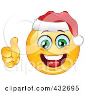 Royalty Free RF Clipart Illustration Of A Cheerful Xmas Emoticon Wearing A Santa Hat And Holding A Thumb Up by yayayoyo
