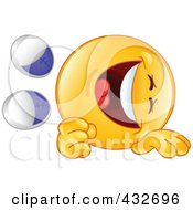 Royalty Free RF Clipart Illustration Of A Yellow Emoticon Rolling On The Floor And Laughing