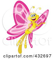 Pink And Yellow Butterfly Smiling And Presenting