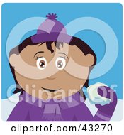 Clipart Illustration Of A Hispanic Girl Throwing Snowballs by Dennis Holmes Designs