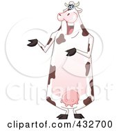 Royalty Free RF Clipart Illustration Of A Cheerful Cow Standing Upright And Presenting