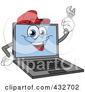 Laptop Character Wearing A Red Hat And Holding A Wrench