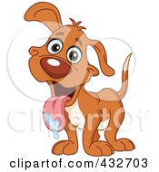 Royalty Free RF Clipart Illustration Of A Happy Dog With Drool On His Tongue by yayayoyo
