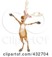 Royalty Free RF Clipart Illustration Of A Cheerful Reindeer Standing With His Arms Open