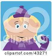 Clipart Illustration Of A Caucasian Girl Throwing Snowballs by Dennis Holmes Designs