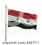 Royalty Free RF Clipart Illustration Of The Flag Of Syria Waving On A Pole