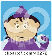 Clipart Illustration Of A Mexican Girl Throwing Snowballs by Dennis Holmes Designs