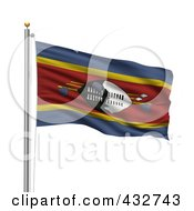 Royalty Free RF Clipart Illustration Of The Flag Of Swaziland Waving On A Pole