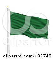 Royalty Free RF Clipart Illustration Of A 3d Flag Of Libya Waving On A Pole by stockillustrations