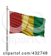 Royalty Free RF Clipart Illustration Of The Flag Of Guinea Waving On A Pole by stockillustrations