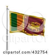 Royalty Free RF Clipart Illustration Of The Flag Of Sri Lanka Waving On A Pole
