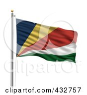 Royalty Free RF Clipart Illustration Of The Flag Of Seychelles Waving On A Pole
