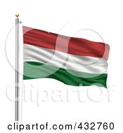Royalty Free RF Clipart Illustration Of A 3d Flag Of Hungary Waving On A Pole by stockillustrations