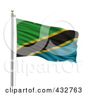 Royalty Free RF Clipart Illustration Of The Flag Of Tanzania Waving On A Pole