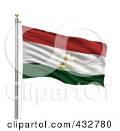 Royalty Free RF Clipart Illustration Of The Flag Of Tajikistan Waving On A Pole