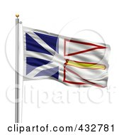 Royalty Free RF Clipart Illustration Of A 3d Flag Of Newfoundland And Labrador Waving On A Pole