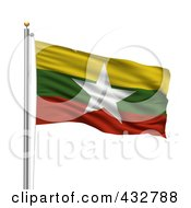 Royalty Free RF Clipart Illustration Of A 3d Flag Of Myanmar Waving On A Pole