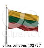Royalty Free RF Clipart Illustration Of A 3d Flag Of Lithuania Waving On A Pole
