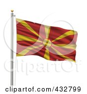 Royalty Free RF Clipart Illustration Of A 3d Flag Of Macedonia Waving On A Pole