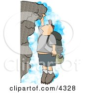 Male Hiker Hanging On A Mountainside Cliff Clipart by djart