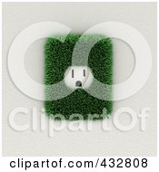 Royalty Free RF Clipart Illustration Of A 3d American Electrical Socket With Grass On A White Wall