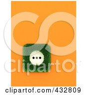 Royalty Free RF Clipart Illustration Of A 3d European Electrical Socket With Grass On An Orange Wall