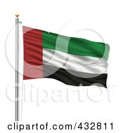 Royalty Free RF Clipart Illustration Of The Flag Of United Arab Emirates Waving On A Pole by stockillustrations