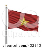 Royalty Free RF Clipart Illustration Of The Flag Of Vietnam Waving On A Pole