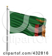 Royalty Free RF Clipart Illustration Of The Flag Of Zambia Waving On A Pole