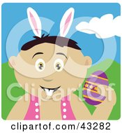 Clipart Illustration Of A Mexican Boy Wearing Bunny Ears And Holding An Easter Egg