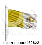 Royalty Free RF Clipart Illustration Of The Flag Of The Vatican City Waving On A Pole by stockillustrations