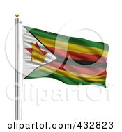 Royalty Free RF Clipart Illustration Of The Flag Of Zimbabwe Waving On A Pole