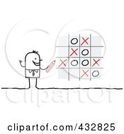 Royalty Free RF Clipart Illustration Of A Stick Businessman Playing Tic Tac Toe