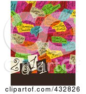 2011 New Year Background With Colorful Text Patches
