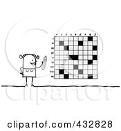 Royalty Free RF Clipart Illustration Of A Stick Woman Doing A Crossword Puzzle