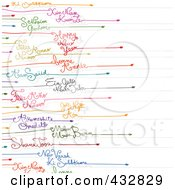 Royalty Free RF Clipart Illustration Of A Rows Of Happy New Year Text In Different Languages And Colors