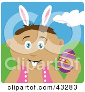 Clipart Illustration Of A Latin American Boy Wearing Bunny Ears And Holding An Easter Egg