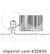 Royalty Free RF Clipart Illustration Of A Stick Businessman With A Barcode