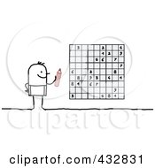Royalty Free RF Clipart Illustration Of A Stick Man Playing Sudoku