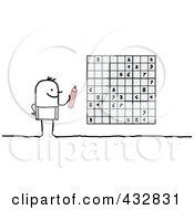 Stick Man Playing Sudoku by NL shop