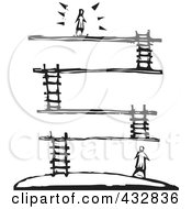 Royalty Free RF Clipart Illustration Of A Black And White Woodcut Styled Person On Top Of A Platform With Layers Below