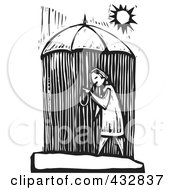 Royalty Free RF Clipart Illustration Of A Black And White Woodcut Styled Woman Walking Under An Umbrella And Getting Rained On by xunantunich