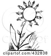 Royalty Free RF Clipart Illustration Of A Black And White Woodcut Styled Scene Of People As Flower Petals On A Big Flower