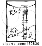 Royalty Free RF Clipart Illustration Of A Black And White Woodcut Styled Scene Of A Person Looking Up A Ladder At Someone By A House