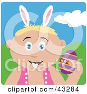 Clipart Illustration Of A Caucasian Boy Wearing Bunny Ears And Holding An Easter Egg