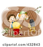 Royalty Free RF Clipart Illustration Of Three Boys Watching Tv In A Tree House by BNP Design Studio