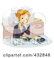 Royalty Free RF Clipart Illustration Of A Stressed Out Female Accountant At Her Desk by BNP Design Studio