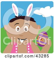 Clipart Illustration Of A Hispanic Boy Wearing Bunny Ears And Holding An Easter Egg