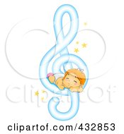 Royalty Free RF Clipart Illustration Of A Baby Sleeping On A Music Note